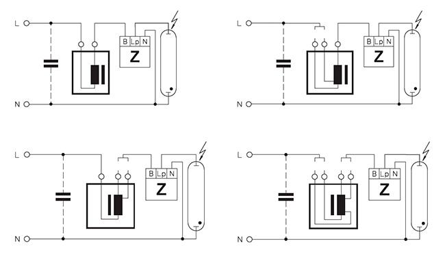 Подключение через электромагнитный балласт